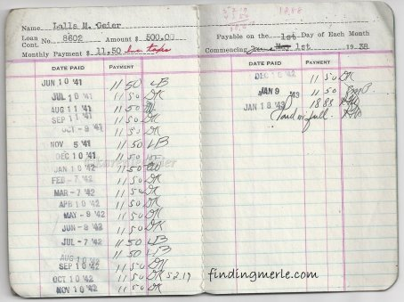 kasae_record of Park house_Lalla to Hazel_beginning in 1939