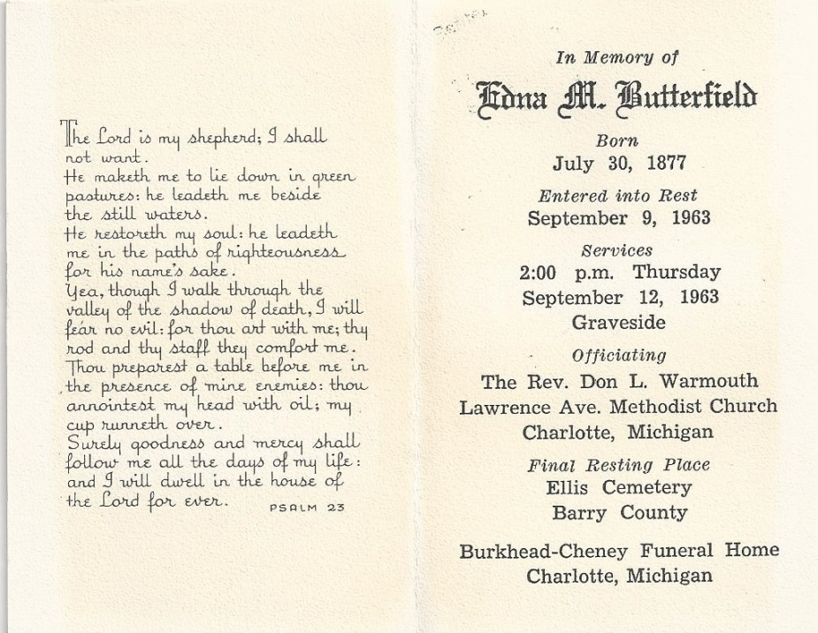 butterfield edna hendricks_funeral pamphlet_d 9 Sep 1963_Charlotte MI