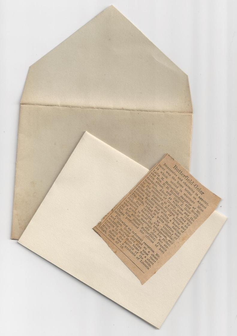 geier carl_butterfield lalla_wedding invitation_24 aug 1921_news clip