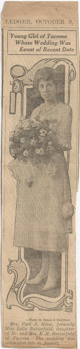 geier carl_lalla butterfield newspaper wedding announcement_1921